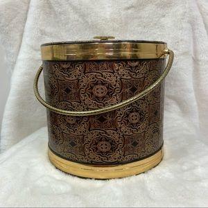 MCM mid century modern brown gold Art Deco regency ice bucket